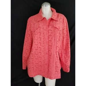 Appleseed's Size 2X Coral Eyelet Jacket
